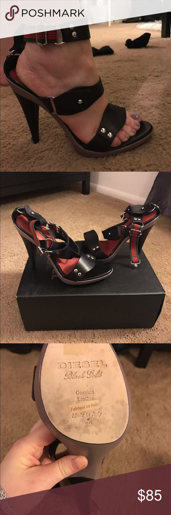Diesel heels size 39/8.5 Brand new with box diesel heel. All leather strap with a contemporary look. Just don't have an outfit to go with so been sitting in closet. Price is firm Diesel Black Gold Shoes Heels