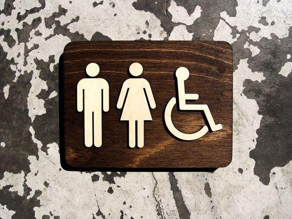 "ETSY Unisex Office Restroom Bathroom Sign - WC Signage - 6"" x 8"""