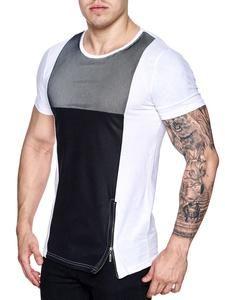 K&D Men Mesh Top Side Zipper T-shirt - White