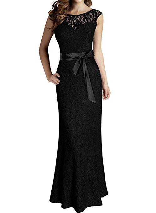 MIUSOL Vintage Donna Lunghi Vestito Elegante Coctel Pizzo Maxi Vestiti da Sera Nero Small