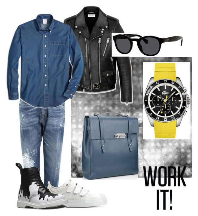 Untitled #3 by zuxrav on Polyvore featuring polyvore, Brooks Brothers, Dsquared2, Yves Saint Laurent, AMI, Dr. Martens, Lacoste, Jack Spade, mens, men, men's wear, mens wear, male, mens clothing and mens fashion