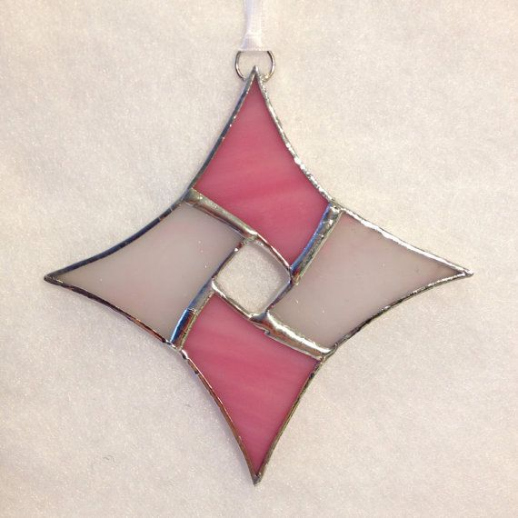 Stained Glass Ornament  Pink Colors Diamond by MamaAgees on Etsy