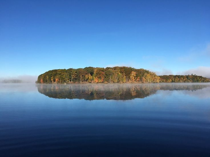 The beautiful Wisconsin Fall colors on Raspberry Island and the reflection of it all in the stillness of Teal Lake.