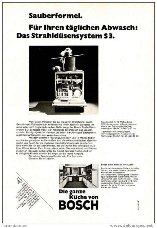 OriginalWerbung/ Anzeige 1967 BOSCH GESCHIRRSPÜLER ca