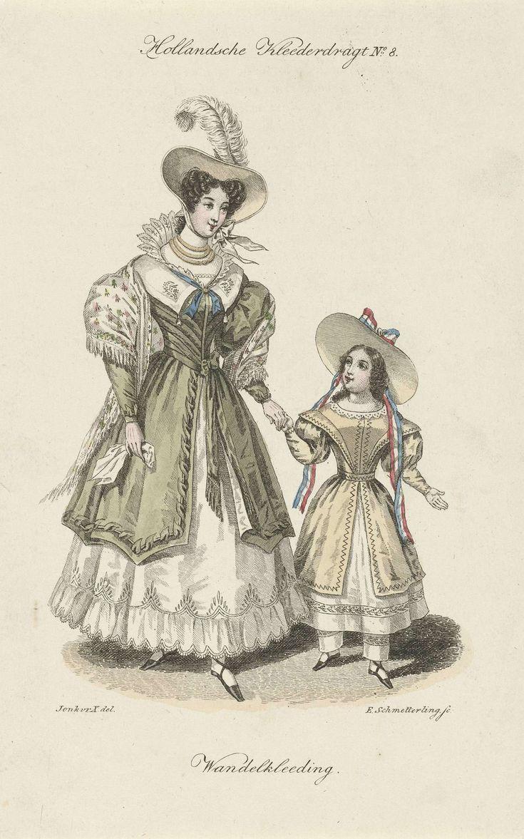 Elisabeth Barbara Schmetterling | Hollandsche Kleederdragt no. 4: Vrouw en kind in wandelkleding, Elisabeth Barbara Schmetterling, Gebroeders Diederichs, 1832 |