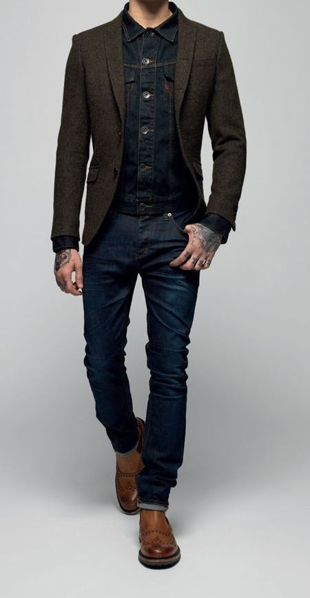 A navy denim jacket and dark blue jeans feel perfectly suited for weekend activities of all kinds. Feeling inventive? Complement your outfit with brown leather chelsea boots.  Shop this look for $280:  http://lookastic.com/men/looks/navy-denim-jacket-dark-brown-blazer-navy-jeans-brown-chelsea-boots/5533  — Navy Denim Jacket  — Dark Brown Wool Blazer  — Navy Jeans  — Brown Leather Chelsea Boots