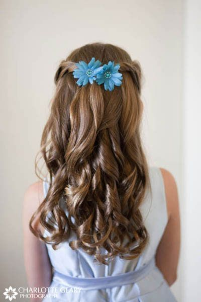 flower+girl+hairstyles | Flower girl with blue flowers in her half-up hairstyle