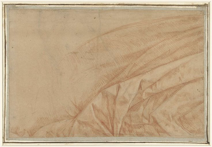 Guido Reni | Studie van een hangend gordijn, Guido Reni, Anonymous, 1636 - 1692 | Studie van een hangend gordijn; over een lichte schets van een naakte mannelijke torso.