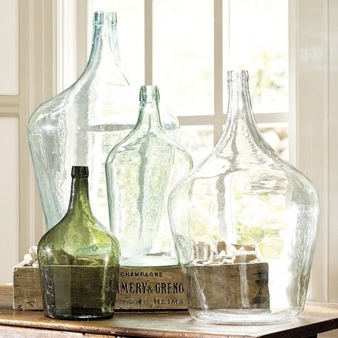 Gorgeous glass bottles...: Decor, Ideas, Vintage Bottle, Vintage Wine, Oversized Wine, Glass Bottles, Wine Bottles, Glasses Bottle, Pottery Barns