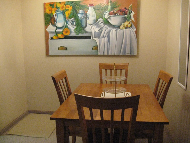 5 ft by 3 ft Still life oil painting in a dining room.