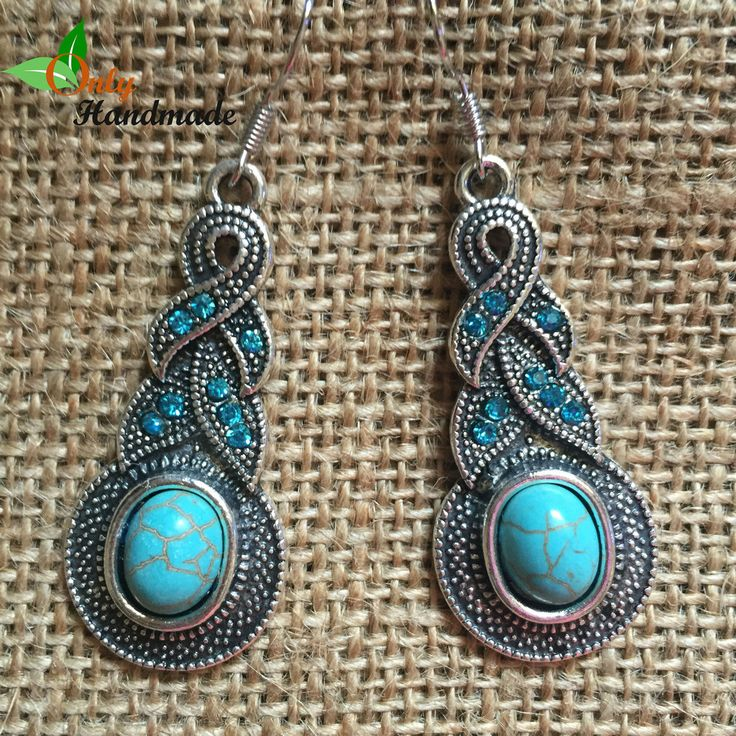 Vintage Turquoise Crystal Water Drop Dangle