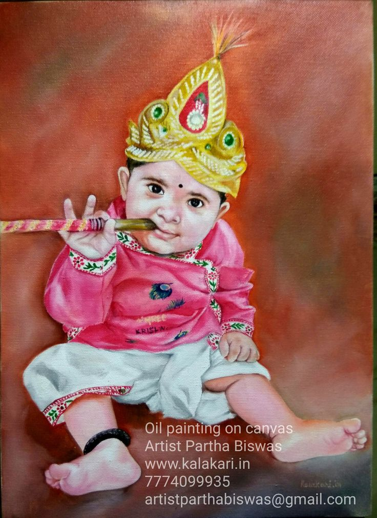 "Oil Painting!!  Cute Baby Krishna 😍😍  Medium: Oil Colors Size: 12""x16"" www.kalakari.in  If you want your Baby to Handpainted as a Little Krishna like this, Contact me🙂 !!!  #Painting #Art #OilPainting #ArtOnline #BuyPaintingOnline #illustration #sale #art prints #prints #design #drawing #painting #graphicdesign #wordsnquotes #digitalart #surrealism #love #colors #emotions #people #culturenlifestyle #artsnskills"