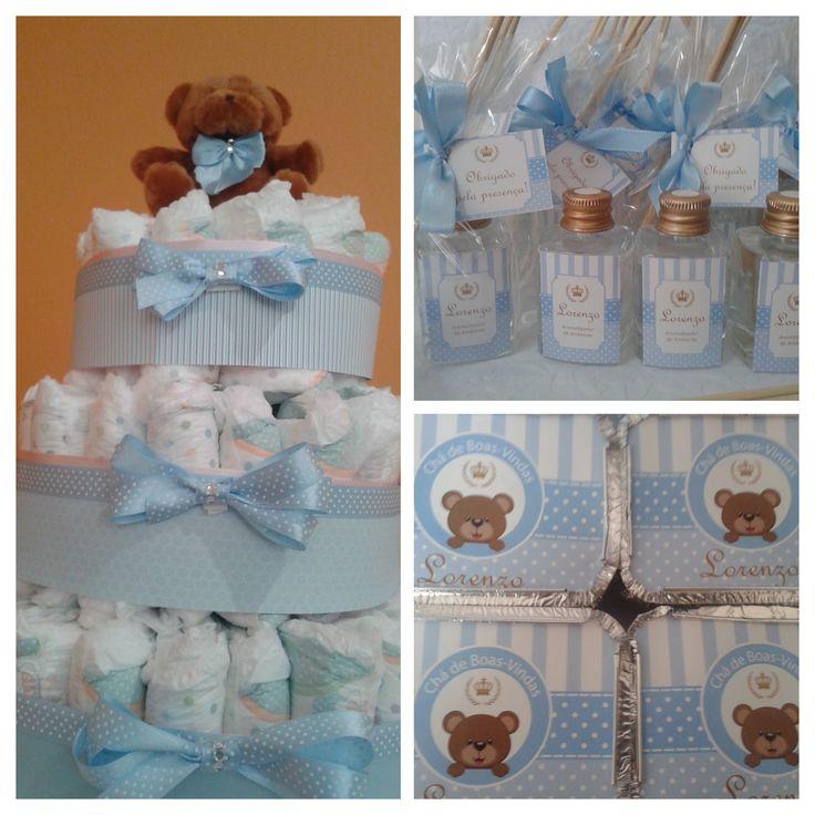 Chá de Bebê Menino, ursinho azul: bolo de fraldas, mini aromas como lembrancinha e marmitinhas para as crianças!