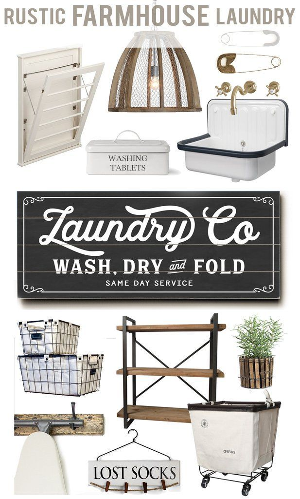 laundry room / decor / farmhouse / industrial / organization / basket / buckets / sign / ironing board