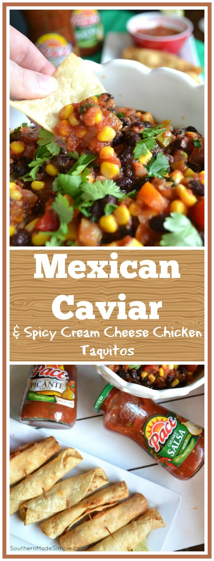 """""""Kickoff"""" Mexican Caviar Dip is an AMAZING dip to kick off gameday on a winning note! Pair it with homemade spicy cream cheese and chicken taquitos and you've got a recipe for awesomeness! #MakeGameTimeSaucy #ad"""