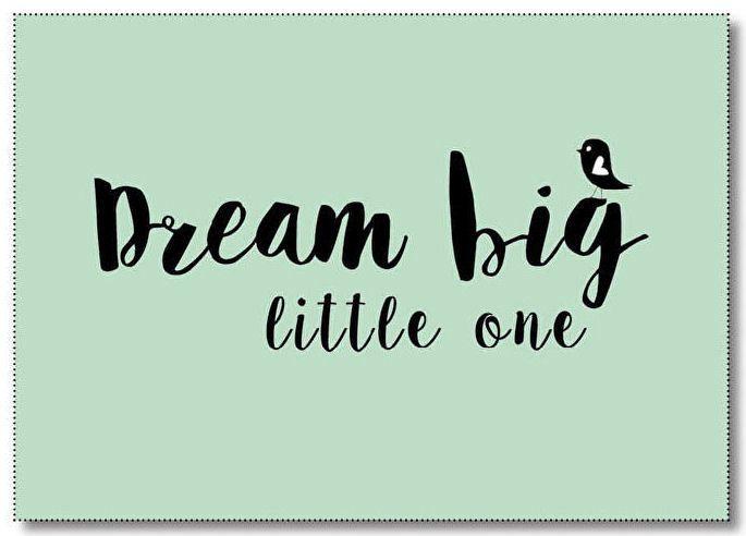 Ansichtkaart Dream big little one. Ansichtkaart in mintgroen met quote Dream big little one. De kaart is geprint op dik kaartpapier met ruwe matte uitstraling.  Op de achterzijde is ruimte voor een adres en een persoonlijke boodschap. Leuk om te versturen, maar ook om op te hangen in een lijstje of met tape aan de muur!