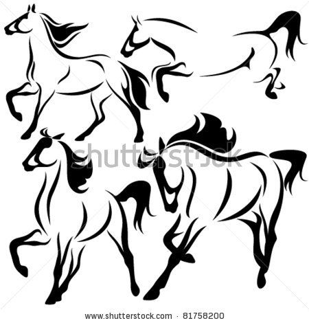 Set Of Fine Horses Outlines