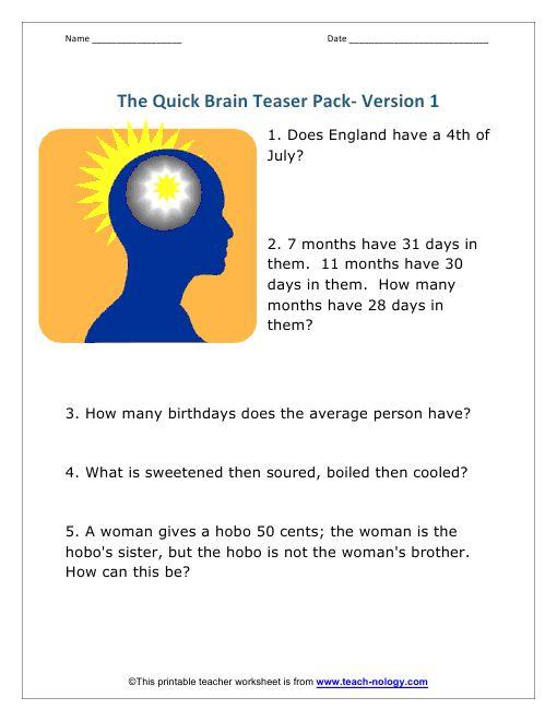 Brain Teaser School Nerd Pinterest