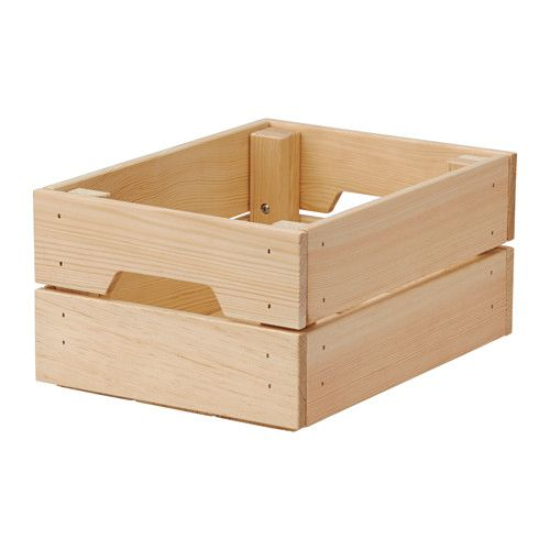 "IKEA - KNAGGLIG, Box, 9x12 ¼x6 "", , Perfect for storing cans and bottles as the box is sturdy.You can save space by stacking two boxes on top of one another.Easy to pull out and lift as the box has handles.Untreated solid pine is a durable natural material that can be painted, oiled or stained according to preference."
