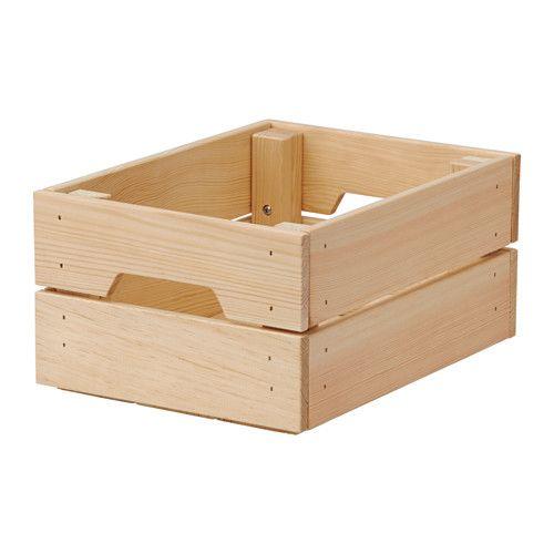 IKEA - KNAGGLIG, Contenitore, 23x31x15 cm, , È resistente e quindi ideale per organizzare barattoli e bottiglie.Puoi guadagnare spazio sovrapponendo 2 contenitori, l'uno sull'altro.Il contenitore è facile da estrarre e sollevare grazie ai manici.Il legno massiccio grezzo è un materiale naturale durevole che diventa ancora più resistente e facile da pulire trattandone la superficie con olio o cera.