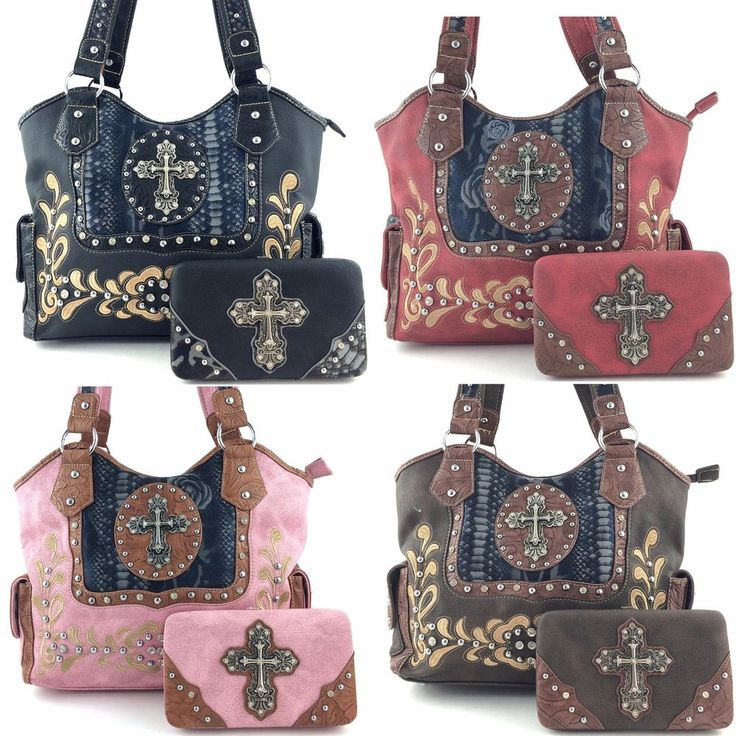 Details About Western Tooled Flower Embroidery Rhinestone Cross Pu Leather Handbag With Wallet