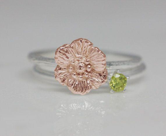 August birth flower and stone ring set birth flower by TedandMag