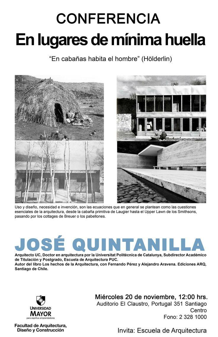 Atención futuros ARQUITECTOS! No olviden que a las 12 horas es la conferencia de José Quintanilla en Auditorio El Claustro. #arquitectura   #umayor   #estudiantes   #construcción