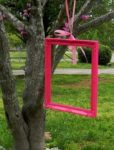 Cute picture idea for birthday guests. Hang a few more different sizes and colors would really add to it nicely