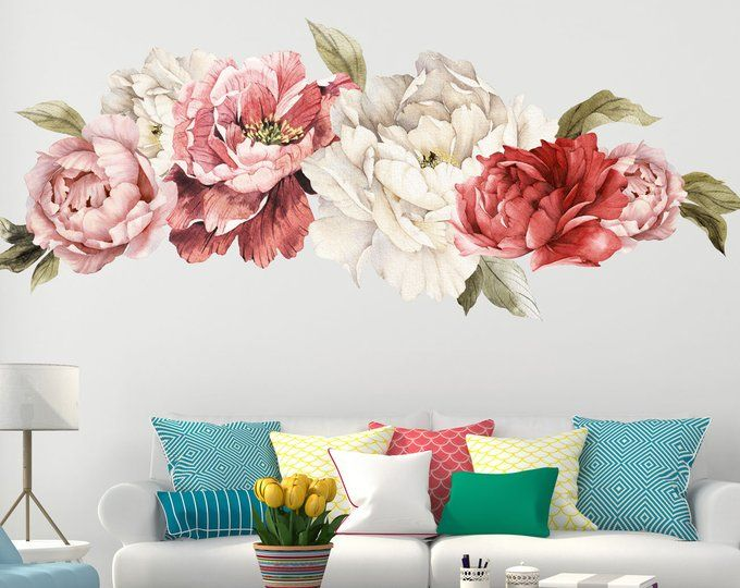 Vintage Style Parrot Tulips Cluster Floral Wall Decal Peel And