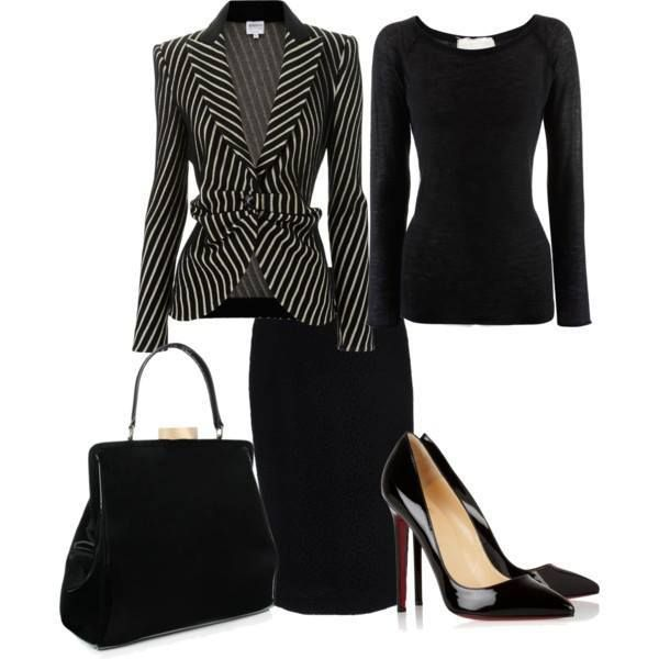 Women's Outfits Trends...striped blazer with black blouse and skirt