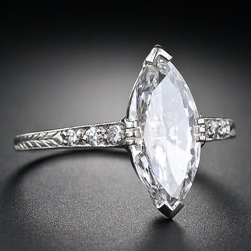 1.41 Carat Art Deco Marquise Diamond Engagement Ring - 10-1-4667 - Lang Antiques