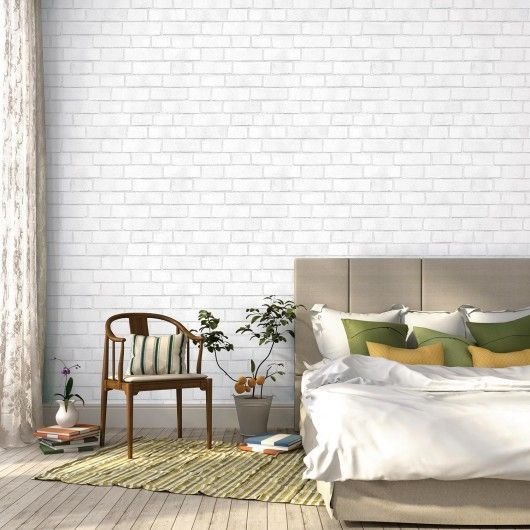 Temporary Wallpaper Swatch - White Brick