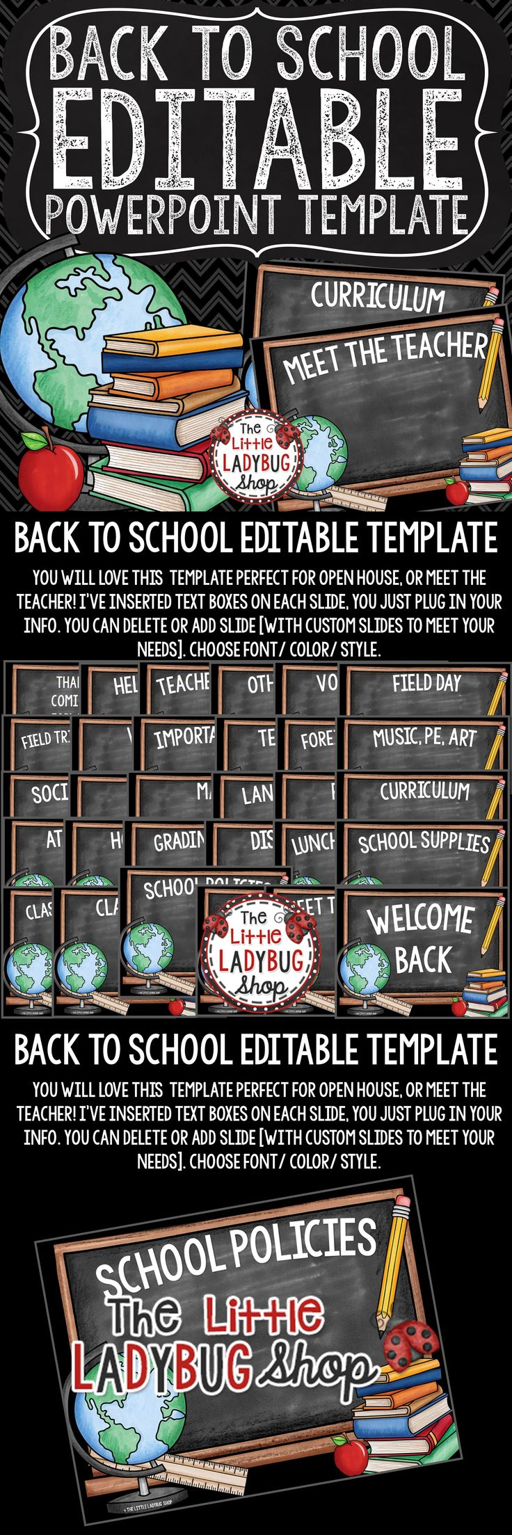 You will LOVE this Back To School PowerPoint for Open House and Meet The Teacher. It is perfect to present all your important information to your class and parents. This lovely theme is perfect for Open House, Meet the Teacher, and other school functions! This template is created in PowerPoint and it is 100% editable for you to plug in your classroom information!