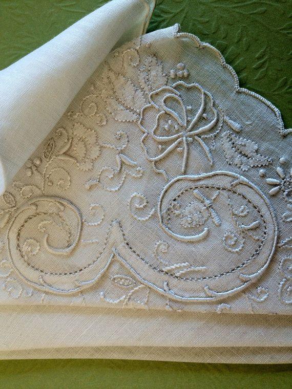 Embroidered linen monogram E