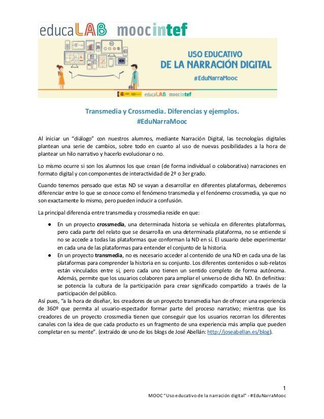 """1 MOOC """"Uso educativo de la narración digital"""" - #EduNarraMooc Transmedia y Crossmedia. Diferencias y ejemplos. #EduNarraM..."""
