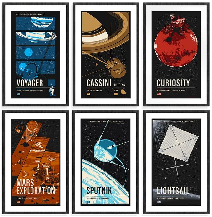 Full set of 9 posters. 1-6 shown. Missing: Galileo, Rosetta and New Horizons.