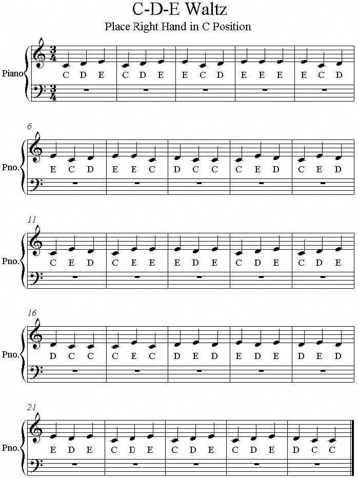 C D E Waltz Easy Piano Songs Easy Piano Sheet Music Beginner