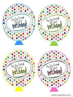 Printable birthday balloons
