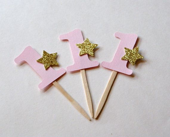 Add a little SPARKLE to your cupcakes or finger foods with these pink and gold glitter star picks. It will make your cupcakes or food items
