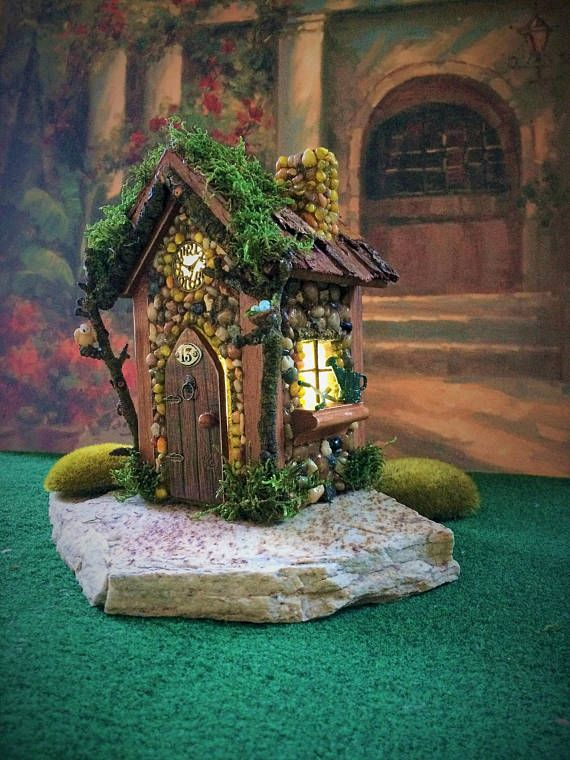 Fairy House with Lights/ fairy house/ Outdoor Fairy House/