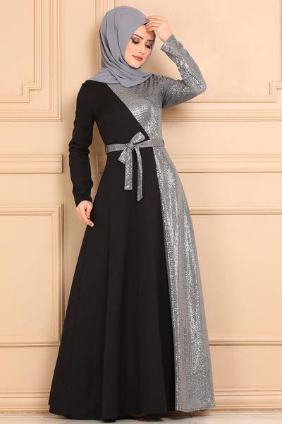 8d535e86e2f20 Modaselvim ELBİSE Pullu Çift Renk Elbise 2587D170 Gümüş | روب in ...