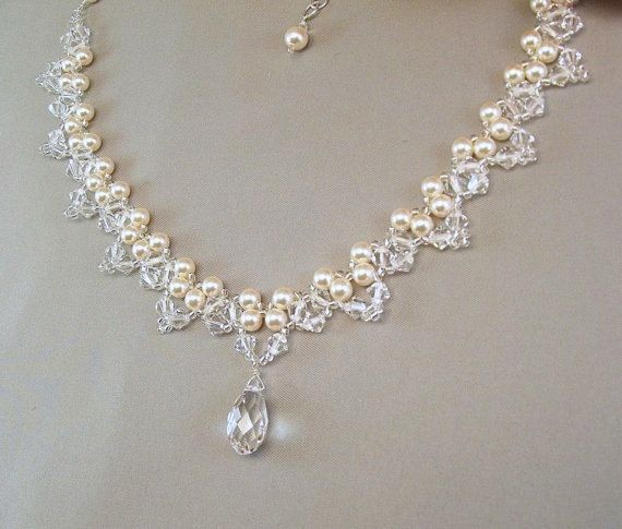 Choice of White or Cream Pearls Bridal Necklace by BridalDiamantes