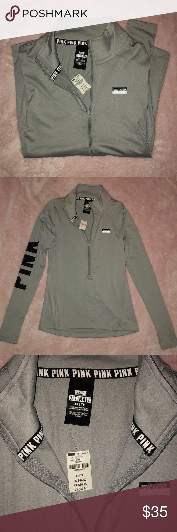 Women's Pink long sleeve zip up top Women's fitted silver Pink long sleeve ultimate deep zip top PINK Tops