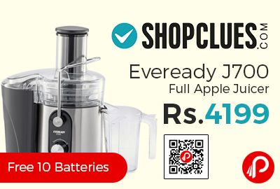 Shopclues is offering 24% off discount on Eveready J700 Full Apple Juicer at Rs.4199 Only. Number of jar :1, Speed Setting:2, Stainless Steel Body material.  http://www.paisebachaoindia.com/eveready-j700-full-apple-juicer-at-rs-4199-only-shopclues/