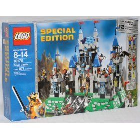 Special Edition Lego Knight's Kingdom King's Castle 10176 with 12 Minifigures by LEGO. $650.00. Defend the gate with swinging halberds, guard the dungeon and help the blacksmith in his workshop!. Includes even the kings faithful dog and a glow-in-the-dark ghost to haunt the castle!. Includes king, royal knight, crossbow knight, 2 castle guards, wizard, blacksmith, 2 skeletons, evil knight and squire!. Raise and lower the drawbridge!. Castle combines classic LEGO const...