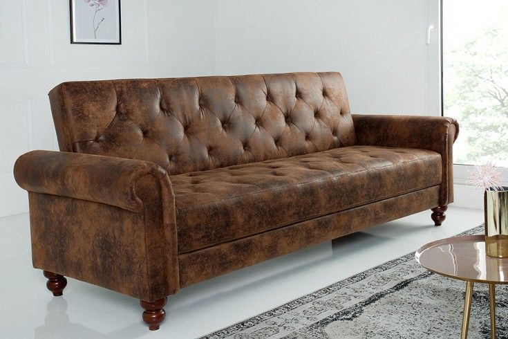 Chesterfield Sofa Maison Belle Affaire 225cm Antik Braun Mit