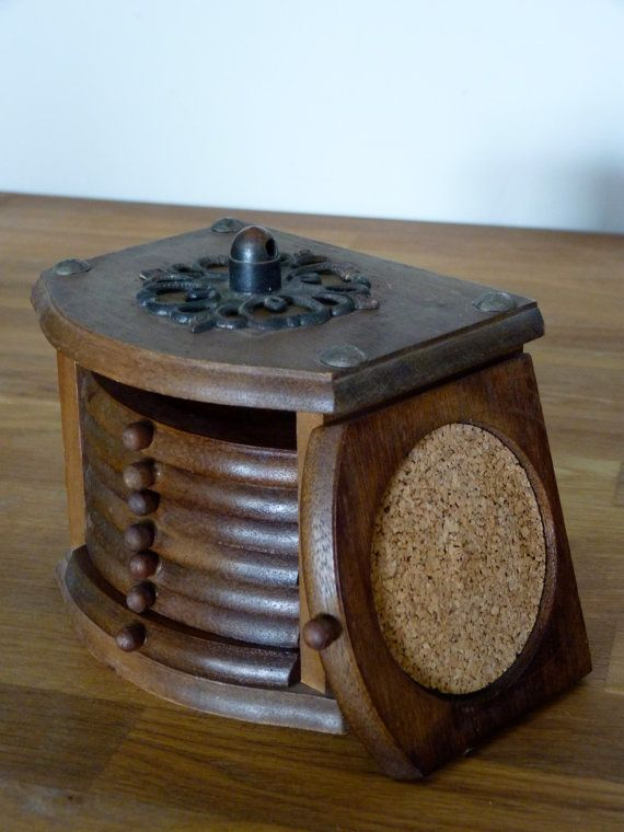 Vintage 8-Piece Wood and Cork Coaster Set with Storage Box. Had it growing up