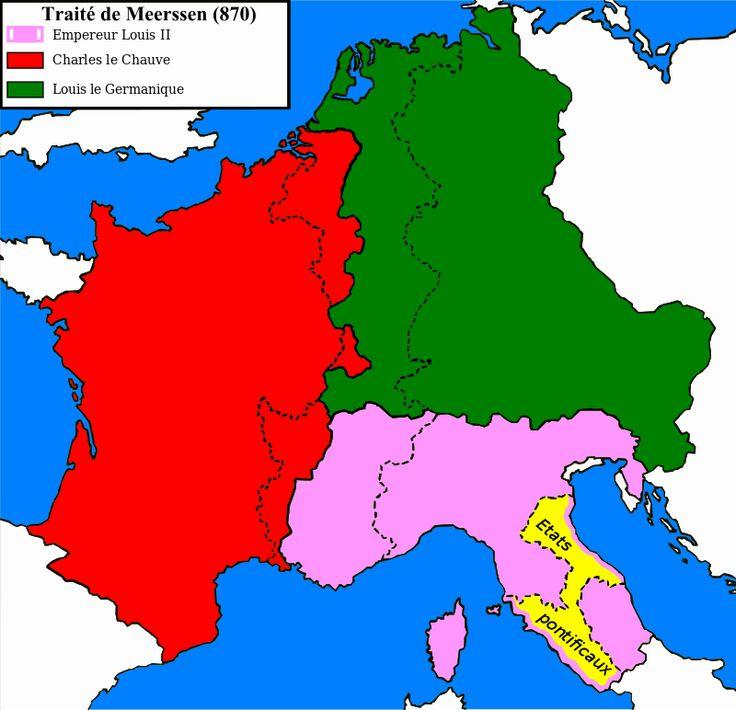 Empire carolingien 870 - Francie orientale en vert sur la carte- 2) CHARLES III LE GROS.1. Introduction: Les historiens distinguent l'accumulation de charges royales, d'abord roi d'Italie en 879, puis pleinement roi de Francie orientale en 882 en même temps que roi de Lotharingie, enfin après la mort du roi Carloman, fils du roi Louis le Bégue et l'appel des aristocrates nustriens, roi ou régent de Francie occidentale en 885.
