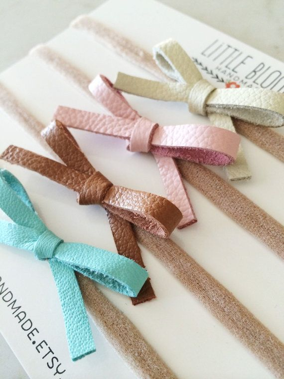 Leather Bow Headband dainty bow on nylon by LittleBloomsHandmade