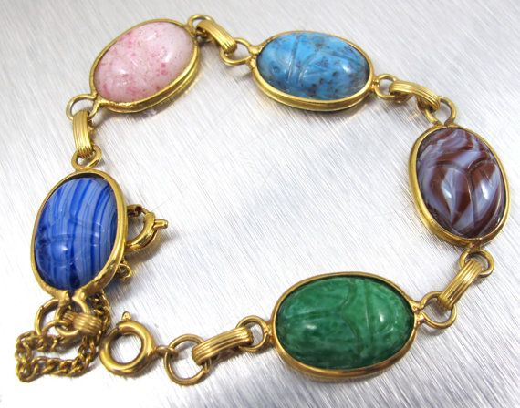 Vintage Scarab Bracelet Egyptian Revival Semi by TonettesTreasures...I think I still have my Gran's!!!